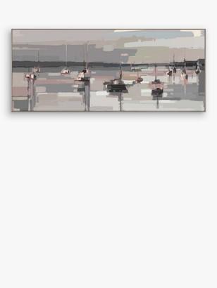 John Lewis & Partners Sabrina Roscino - Boats at Anchor Framed Canvas, 44 x 102cm, Grey/Multi