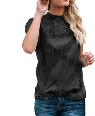 Lopely LOPILY Women's Summer Tops Lace Splice Ethnic Design Blouse Round Neck Short Sleeve Ruffles Cap Sleeve T-Shirt Loose Cute Stylish Daily Blouse(Black 22 UK/5XL CN)