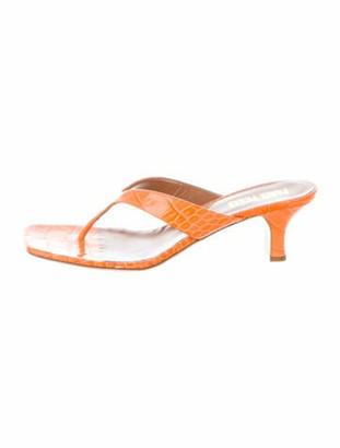 Paris Texas Embossed Leather Sandals w/ Tags Orange