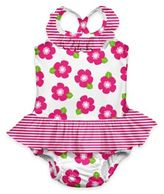 I Play Size 12M Flower Ultimate Swim Diaper Ruffle Tanksuit in White/Pink