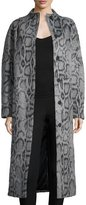 Elizabeth and James Balin Long Animal-Print Coat, Gray/Navy