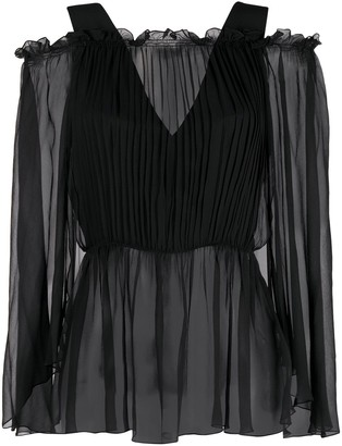 Alberta Ferretti Off-Shoulder Smocked Blouse
