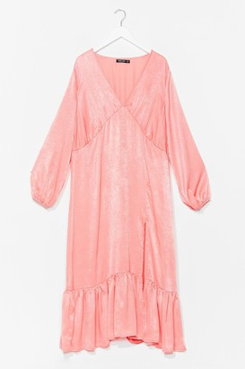 Nasty Gal Womens In For the Frill Satin Midi Dress - Apricot