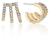 Michael Kors Triple-Row Pave Huggie Hoop Earrings