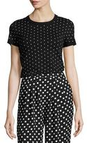 MICHAEL Michael Kors Short-Sleeve Crewneck Polka-Dot Top, Black