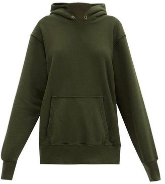 LES TIEN Brushed-back Cotton Hooded Sweatshirt - Khaki