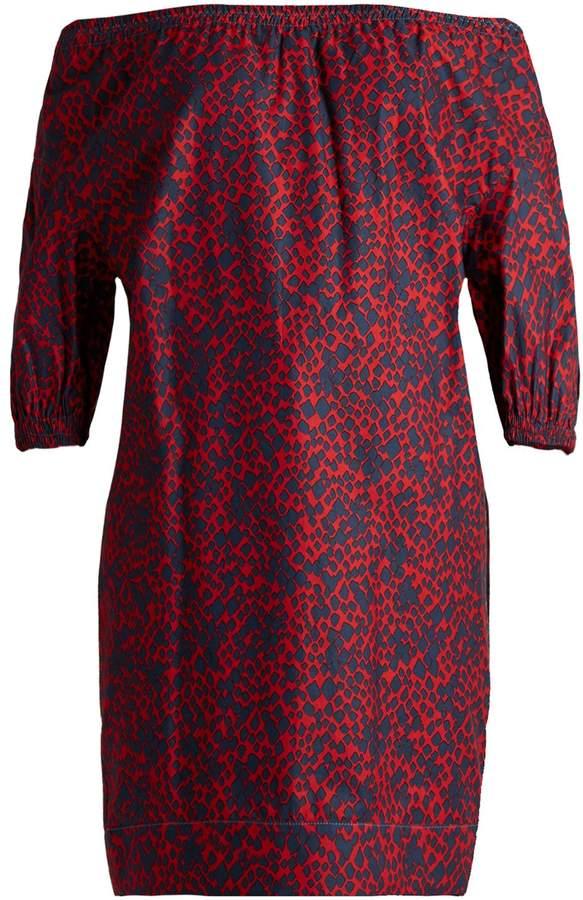 Sonia Rykiel Off-the-shoulder square-print cotton top