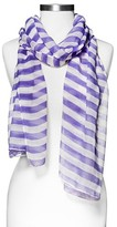 Xhilaration Women's Stripes Print Oblong Scarf Purple