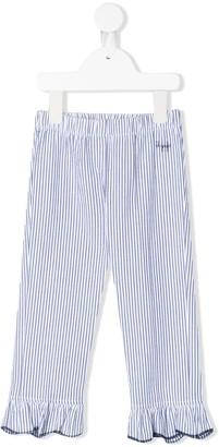 Il Gufo Striped Ruffle Hem Trousers