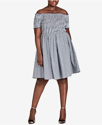 City Chic Trendy Plus Size Cotton Gingham Smocked Dress