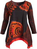 Aller Simplement Black & Orange Geometric Sidetail Tunic - Plus Too