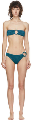 Oseree Blue Lurex Strapless Ring Bikini
