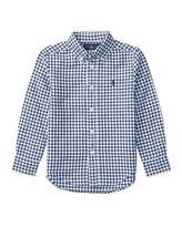 Ralph Lauren Long-Sleeve Gingham Sport Shirt, Blue, Size 5-7