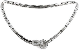 Cartier 18kt white gold diamond Agrafe necklace
