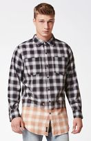Civil Bleached Plaid Flannel Long Sleeve Button Up Shirt