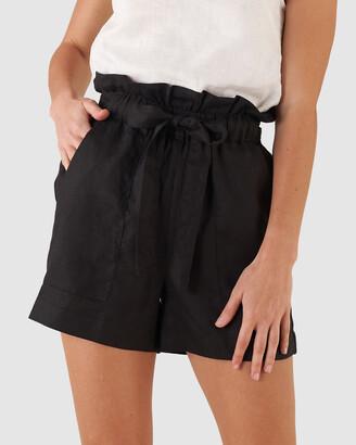 Amelius - Women's Black Shorts - Sahara Linen Shorts - Size One Size, 6 at The Iconic