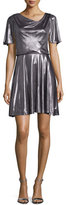 Halston Flutter-Sleeve Metallic Cocktail Dress, Gunmetal