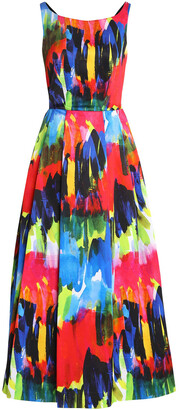 Milly Serena Open-back Printed Cotton-blend Twill Midi Dress