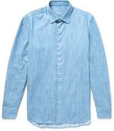 Caruso - Slim-fit End-on-end Cotton-chambray Shirt