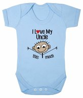FLOSO Baby Girls/Boys I Love My Uncle This Much Short Sleeve Bodysuit (12-18 Months)