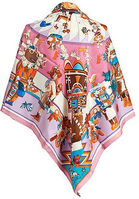One Kings Lane Vintage Hermes Chiffon Kachinas Shawl - Vintage Lux - pink/white/orange