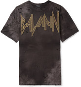 Balmain - Oversized Distressed Printed Cotton-jersey T-shirt