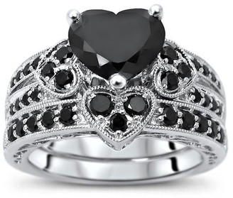 Front Jewelers 14k White Gold 2.25ct Black Heart Shape Diamond Engagement Ring Bridal Set