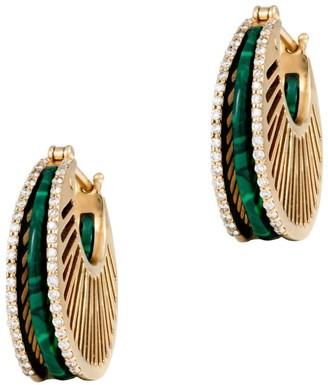 L'Atelier Nawbar Yellow Gold And Diamond Cosmic Stoned Rays Hoop Earrings