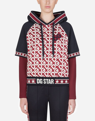 Dolce & Gabbana Short Jersey Hoodie With Logo Print