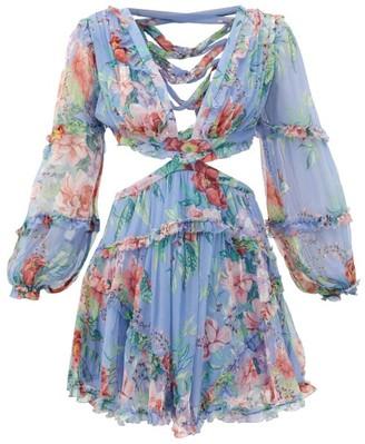 Zimmermann Bellitude Laced Floral-print Silk Mini Dress - Blue Print