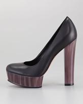 Rachel Zoe Leila Leather and Painted Heel Platform Pump