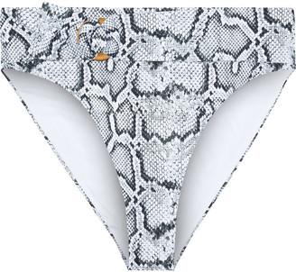 Onia Anais Belted Snake-print High-rise Bikini Briefs