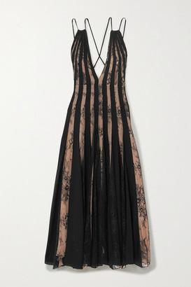 Oscar de la Renta Tulle And Lace-paneled Pleated Silk-voile Midi Dress - Black