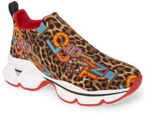 Christian Louboutin Space Run Logo Leopard Print Slip-On Sneaker