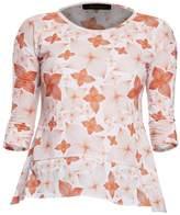 Philosofée - Tangerine Floral Print Back Pleat Modal T-shirt