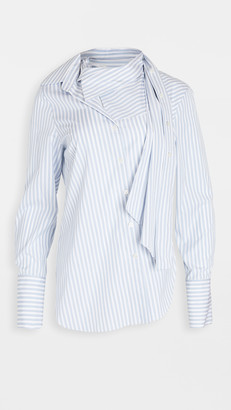 Monse Stripe Poplin Twisted Scarf Shirt