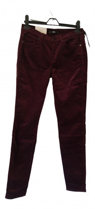 7 For All Mankind Burgundy Cotton Jeans for Women