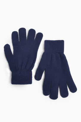 Topshop Womens Navy Knitted Touch Screen Gloves - Navy Blue