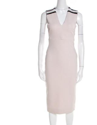 Victoria Beckham Blush Pink Striped Shoulder V-Neck Sleeveless Pencil Dress M