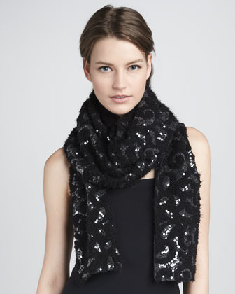 Rachel Zoe Stretch Sequin Silk Scarf