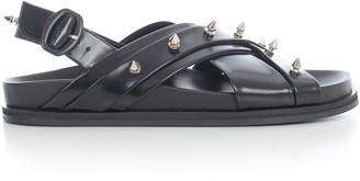Simone Rocha Leather Multi Strap Sandal Slide W/beading