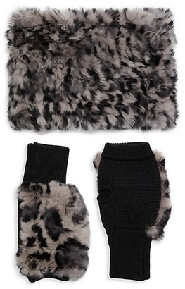 Jocelyn 2-Piece Rabbit Fur Wool-Blend Neck Wrap Fingerless Mittens Set