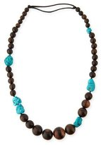Viktoria Hayman Tiger Wood & Freeform Turquoise Necklace