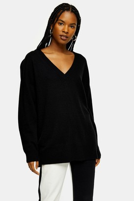 Topshop Black Ribbed Longline Knitted Sweater With Cashmere