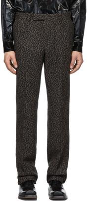 John Lawrence Sullivan Johnlawrencesullivan Grey Leopard Flannel Straight Trousers