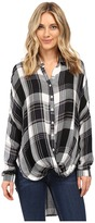 Brigitte Bailey Tana Long Sleeve Plaid Top Women's Clothing