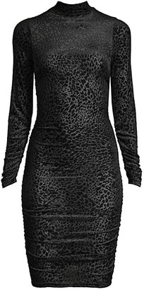 LIKELY Long-Sleeve Leopard-Print Burnout Bodycon Dress