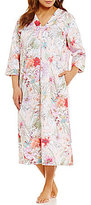 Miss Elaine Plus Floral Sateen Tasseled Zip Robe