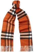 Burberry Checked Cashmere Scarf - Orange