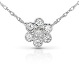 Kobelli Jewelry Diamond-Accented 14K White Gold Flower Pendant Necklace with 18-inch Rope Chain